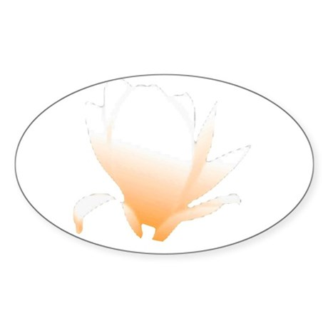 Pastel Orange Bloom Oval Sticker