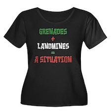 situatio Women's Plus Size Dark Scoop Neck T-Shirt