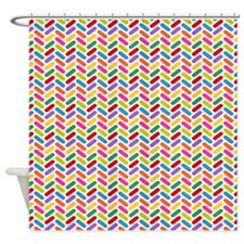 Multi Color Chevron Shower Curtains Multi Color Chevron Fabric Shower Curta