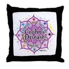 Crohns-Disease-Lotus Throw Pillow