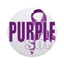Cystic-Fibrosis-Purple-for-Son-blk Round Ornament