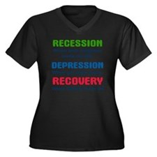 recession3 Women's Plus Size Dark V-Neck T-Shirt