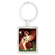 Seated Angel - Himalayan cat 7 Portrait Keychain