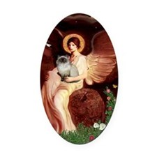Seated Angel - Himalayan cat 7 Oval Car Magnet