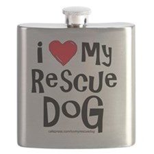 2-I love my rescue dog large Flask