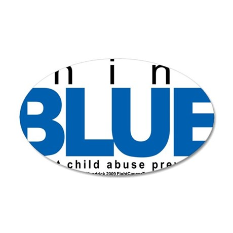 Child-Abuse-THINK-Blue 35x21 Oval Wall Decal