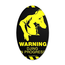 Warning DJing in Progress 35x21 Oval Wall Decal