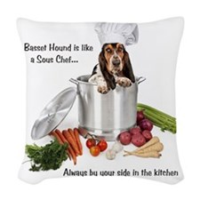 Basset Hound Sous Chef Woven Throw Pillow
