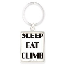 sleep eat climb 1 Portrait Keychain
