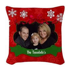 Christmas Photo Woven Throw Pillow