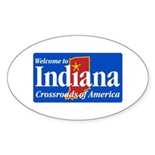 Welcome to Indiana - USA Oval Stickers