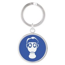 Gas-Mask for dark Round Keychain