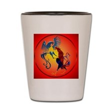 Two Colorful Fighting Roosters circle Shot Glass