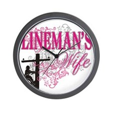 linemans wife3 white Wall Clock