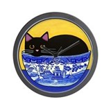Black CAT Blue Willow Bowl Folk ART Wall Clock