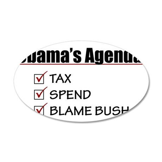 Obamas-Agenda-(white-shirt) 35x21 Oval Wall Decal