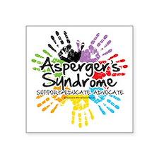"Aspergers-Handprint Square Sticker 3"" x 3"""