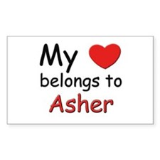 My heart belongs to asher Rectangle Decal