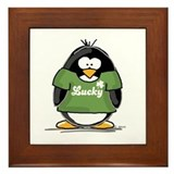 3 Leaf Clover Penguin Framed Tile