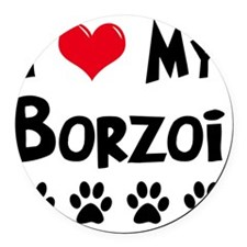 I-Love-My-Borzoi Round Car Magnet