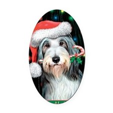 Bearded Collie-Happy Holidays Oval Car Magnet