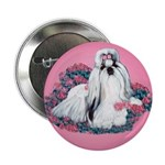 Shih Tzu and Flowers Button