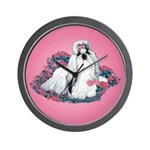 Shih Tzu and Flowers Wall Clock