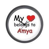 My heart belongs to amya Wall Clock