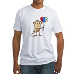 Monkey with Balloons Fitted T-Shirt
