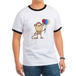 Monkey with Balloons Ringer T