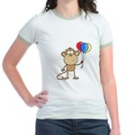 Monkey with Balloons Jr. Ringer T-Shirt