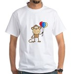 Monkey with Balloons White T-Shirt