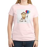 Monkey with Balloons Women's Pink T-Shirt