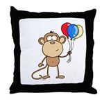 Monkey with Balloons Throw Pillow
