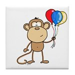 Monkey with Balloons Tile Coaster