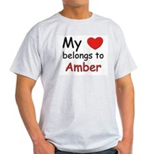 My heart belongs to amber Ash Grey T-Shirt