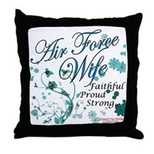air force wife flowers blue Throw Pillow