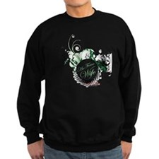 air force wife flowers green bla Sweatshirt