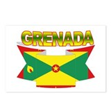 Grenada Flag Ribbon Postcards (Package of 8)