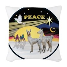 R-Night Flight - 2 Baby Llamas Woven Throw Pillow