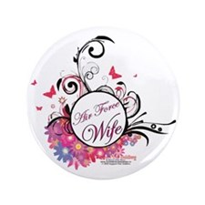 "air force wife flowers pink black 3 3.5"" Button"