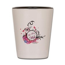 air force wife flowers pink black 3 Shot Glass