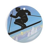 Ski Jumper (Male) Ornament (Round)
