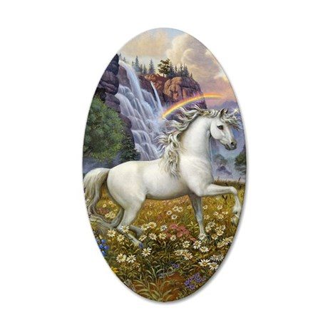 UnicornRainbow Valley_card 35x21 Oval Wall Decal