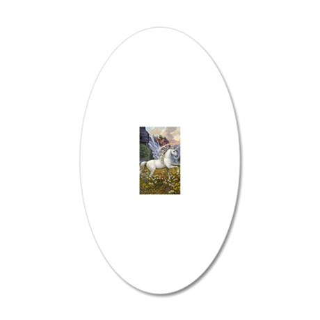 UnicornRainbow Valley_card 20x12 Oval Wall Decal