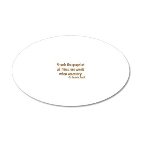 PreachTheGospelWordsBrownTex 20x12 Oval Wall Decal