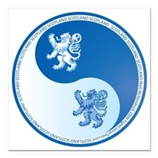 "Scotland-Ying-Yang-blue Square Car Magnet 3"" x 3"""