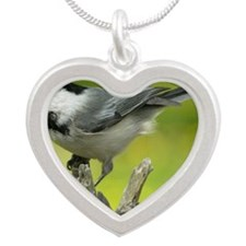 chickadee Silver Heart Necklace