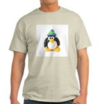 Clay Green Beanie Penguin Ash Grey T-Shirt