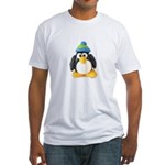 Clay Green Beanie Penguin Fitted T-Shirt